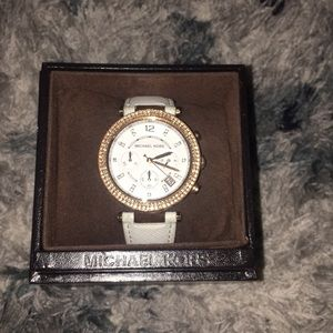 Rose gold and white Michael Kors watch